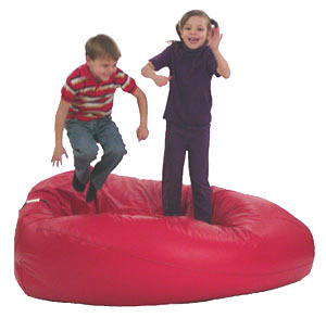 kids jumping on bean bag