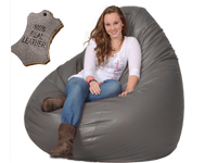 Real Leather Beanbag in Taupe Brown