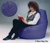 large bean bag in royal blue pearl