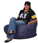 Purple Cloth Bean Bag Chair